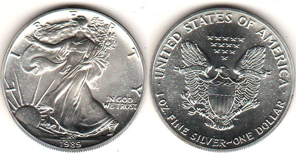 Сша 1989 год 1 доллар unc серебряный орёл - 1 доллар серебря.