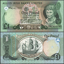 Северная Ирландия 1982 г. 1 фунт UNC (Irish Banks Limited)